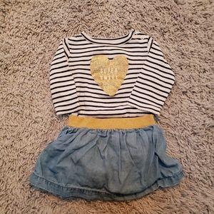 Carter's 6 Mo Striped Top & Skirt